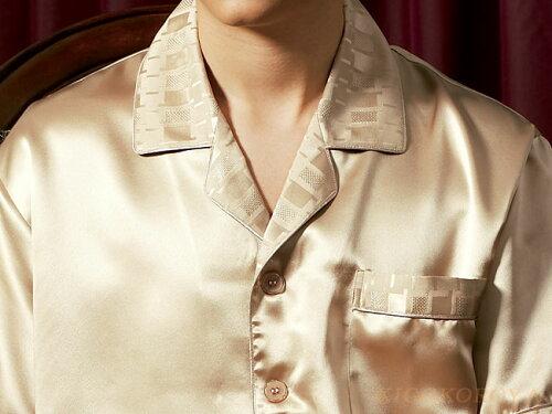 半袖シルクパジャマ 金色(ゴールド) 19匁絹100% メンズ/紳士 ルームウェアーll...