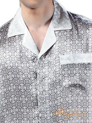XLのみ シルク100%パジャマ メンズ 長袖 灰色【星柄】父の日 敬老の日 プレゼント ギフト【smtb-KD】【楽ギフ_包装選択】あす楽対応【RCP】