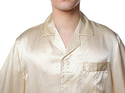 シルクパジャマ メンズ 長袖 シルク100% チェック ベージュ【送料無料】父の日 敬老の日 プレゼント ギフト【smtb-KD】あす楽対応【RCP】