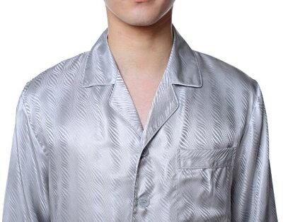 シルクパジャマ メンズ 長袖 シルク100% 波ライン グレー 灰色【送料無料】父の日 敬老の日 プレゼント ギフト【smtb-KD】あす楽対応【RCP】