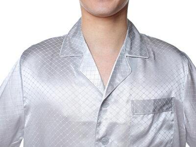 シルクパジャマ メンズ 長袖 シルク100% チェック 灰色グレー【送料無料】父の日 敬老の日 プレゼント ギフト【smtb-KD】あす楽対応【RCP】