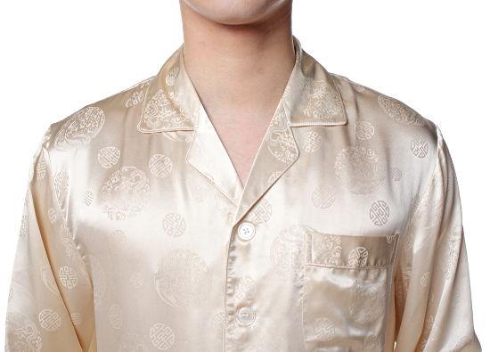 シルクパジャマ メンズ 長袖 シルク100% 龍・中華模様 ベージュ父の日 敬老の日 プレゼント ギフト【smtb-KD】あす楽対応【RCP】