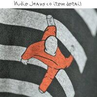 ■NudieJeansヌーディージーンズメンズ■Oネックラウンドネックプリント半袖Tシャツ【O-NECKTEEZEBRA】【サイズXS〜L】【ブラック×グレー】ndj-m-t-83-523詳細画像4
