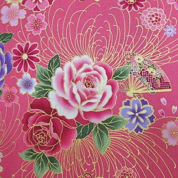 和風花柄 着物風 鼓と扇と花模様 ピンク【和柄 生地 布地】