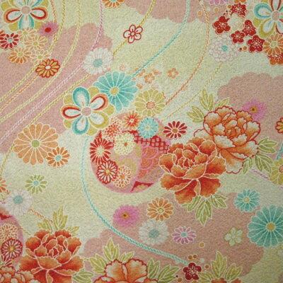 綿ちりめん(エンボス)和柄生地着物風彩華柄ピンク