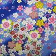 和柄生地 桜満開柄 青 【生地 和柄 布】