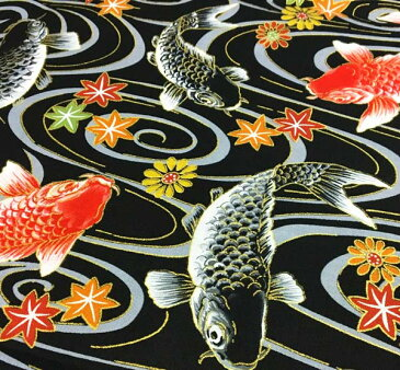 スケアー 和柄生地 着物風 流水と鯉 4色 【和柄 生地 布地】