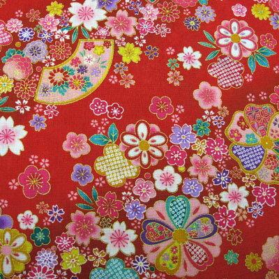 和柄生地和風花柄着物風金彩斜め花模様赤