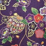 和柄 生地 和風 花柄 着物風 花と手毬 紫