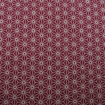 和柄生地 シンプル麻の葉柄 エンジ 和調 和柄 布