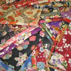 和柄の布・生地の着物風の柄のトライアルセットハギレ・カットクロス和調花柄きもの風の生地が...