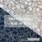生地レースエンブロイダリー刺繍ローン生地花柄後染め綿100%インドブラウスシャツ