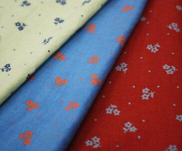 コットン・綿100% 40番手薄手ツイル 小花柄プリント・ワッシャー加工生地 ブラッシングほどの起毛 布 生地 布地 服地 通販