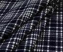 ネイビー×オフホワイトのサマー・タータン♪先染めウール混平織り♪W巾150cm 防縮加工布 生地 ...