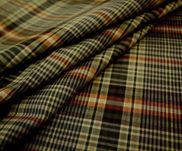 やわらかオレンジ&グリーンがキュート 日本製上質ウール混マルチカラー タータンチェック 平織り W巾150cm 防縮加工 布 生地 布地 服地 通販 ウール チェック ウール生地 チェック柄