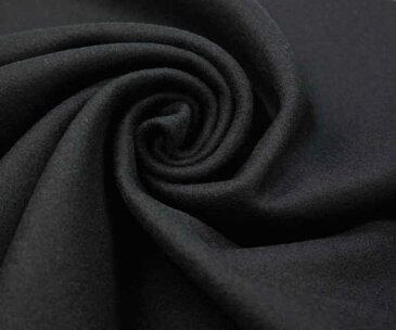 あったかウール100%紡毛メルトン ブラック 無地 ピーコート ダッフルコート ポンチョに W巾150cm 日本製 布 生地 布地 服地 通販 ウール ひざ掛け ウール生地 メルトンウール 黒 50cm以上10cm単位