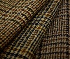 紡毛ウール チェック ツイード マルチカラー♪ピーコート,マントコート,ポンチョW巾140cm布 生...