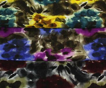 軽くてあったかいウール100%ボイル・花柄プリント全3色 マフラー,ショール,ストール,ひざ掛けに 薄手・やや透け感あり 布 生地 布地 服地 通販 ウール 膝掛け 日本製 50cm以上10cm単位 ウール生地