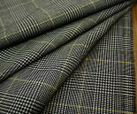 日本製上質ウール100%先染め白/黒グレンチェック・マスタードイエローライン綾織り♪W巾150cm防縮加工布生地布地服地通販激安ウールウール生地チェック柄チェック10cm単位