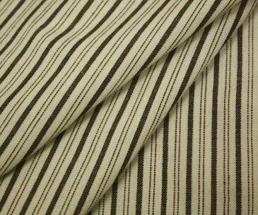 先染めコットン 綿100% ヴィンテージ風ストライプ(縦縞)・こげ茶&キナリのナチュラルテイスト・裏弱起毛 幅148cm 生地厚約0.35mm(中肉程度)布 生地 布地 服地 綿 コットン生地 通販 50cm以上10cm単位 ストライプ柄 日本製