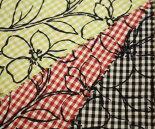ミニギンガムチェックにブラック花柄輪郭のT/Cブロード・プリント♪巾112cm日本製布生地布地服地綿コットン生地ポリエステル通販激安チェック柄