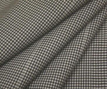 日本製上質ウール ポリエステル混先染め白 黒 千鳥格子 チェック・ストライプ(縦縞)入り平織り生地 W巾150cm 防縮加工 布 布地 服地 通販 チェック ウール生地 10cm単位 千鳥柄 チェック柄 スカート パンツに