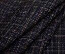 ネイビー地に小っちゃいマルチカラーチェック平織りウール ポリエステル混生地 W巾150cm 日本製 布 布地 服地 通販 ウール生地 サマーウール チェック柄 50cm以上10cm単位カット