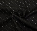 黒地に白ドット・ドビー・ツイル(綾織り)ウール/ポリエステル混チェック生地♪W巾150cm日本製布布地服地通販激安ウール生地ドット柄水玉チェック柄