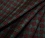 日本製上質ウール/ポリエステル混ツイル(綾織り)先染めエンジ&緑の小さめチェック♪W巾150cm布生地布地服地通販激安ウール生地チェック柄