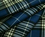 落ち着いたブルー&白・黒のタータンチェック・綾織り/ツイル♪日本製ウール/ポリエステル混先染め生地♪W巾150cm防縮加工布布地服地通販激安チェックウール生地10cm単位チェック柄スカート等に