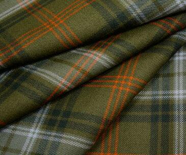 オレンジラインがキュートなオータムカラーのタータンチェック綾織り ツイル 日本製上質ウール ポリエステル混先染め生地 W巾150cm 防縮加工 布 布地 服地 通販 チェック ウール生地 10cm単位 チェック柄 スカート等に