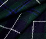 日本製ウール/ポリエステル混綾織り(ツイル)・ブラックウォッチ・ホワイトラインのタータンチェック生地♪W巾150cm布生地布地服地通販激安チェックウール生地10cm単位カットチェック柄