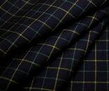 ウール/ポリエステル混平織り・サマーウール♪ダークネイビー地グラフチェック♪W巾150cm布生地布地服地通販ウール生地チェック柄チェック濃紺