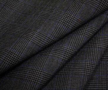 ウール ポリエステル混先染めグレー&黒のグレンチェック・細い青ライン入り薄手の平織り生地 日本製 W巾150cm 防縮加工 布 布地 服地 通販 チェック ウール生地 チェック柄