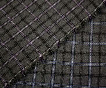 2色展開 グレー地に水色・紫ラインの小さめチェック柄 ウール ポリエステル混先染めサマーウール(平織り)生地 W巾150cm やや薄手 布 布地 服地 通販 チェック ウール生地 50cm以上10cm単位カット