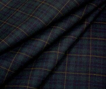 日本製上質ウール ポリエステル混平織り 小さめブラックウォッチ タータンチェック・控えめイエローライン W巾150cm 防縮加工 布 生地 布地 服地 通販 激安 ウール チェック ウール生地 サマーウール チェック柄