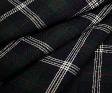 日本製上質ウール ポリエステル混平織り ブラックウォッチに赤&白ライン タータンチェック・サマーウール W巾150cm 防縮加工 布 生地 布地 服地 通販 チェック ウール生地 チェック柄