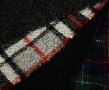特級品!日本製ウール紡毛・杢グレー&白淡グレーに赤黒ラインがキュートなタータンチェックとネイビー&ブラックウォッチのリバーシブル紡毛メルトン♪ダッフルコートやポンチョ,膝掛け,ブランケットに♪W巾布生地布地服地通販激安ウール生地チェックチェック柄無地