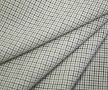 TC先染めオフホワイト地カーキイエローダークネイビーのミニミニチェック平織り生地コットンポリエステル日本製布布地服地コットン生地綿シャツ地通販