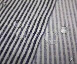 ビンテージ調ストライプ・ネイビーxオフホワイトプリントやや薄手のポリエステル100%撥水加工ドビー・タフタ(平織り)生地w巾145cm布布地服地通販日本製