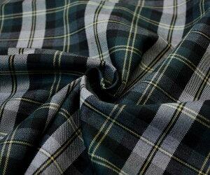日本製上質ウール/ポリエステル混綾織り先染め・落ち着いたグリーン系のタータンチェック♪スカート、パンツ、ジャケットに♪W巾150cm布生地布地服地通販激安ウールポリエステルチェックウール生地10cm単位カットチェック柄