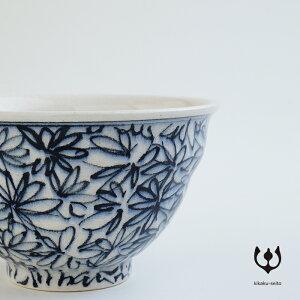 【有田焼】手書染付茶碗(柄:花詰)-喜鶴製陶-