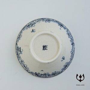 【有田焼】手書染付平小鉢(柄:花詰)-喜鶴製陶-