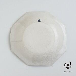 【有田焼】手書染付八角浅鉢(柄:花詰)-喜鶴製陶-