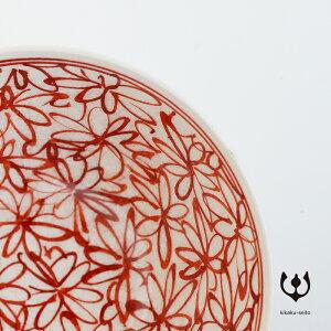 【有田焼】手書赤絵平小鉢/柄:花詰-はなつめ-/φ15.3cm×H6.3cm/-喜鶴製陶-
