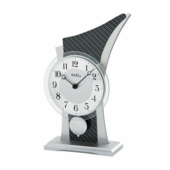 AMS アームス 置き時計 ams-1140 アナログ ドイツ製 置時計 振り子 アルミ カーボン [アムス 海外メーカー 輸入時計 欧州 デザイン]:Rocobi