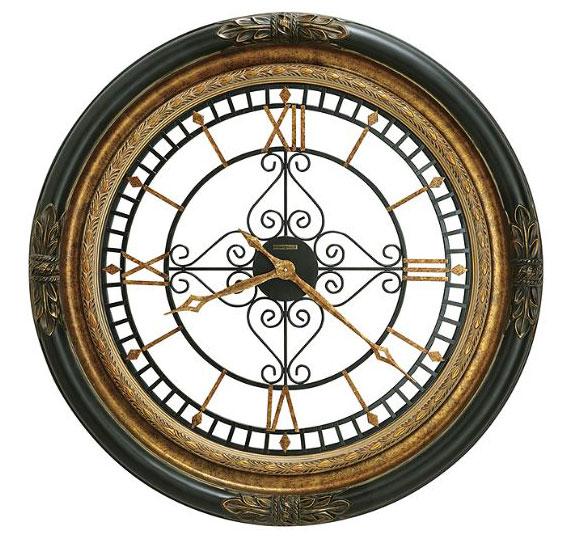HOWARD MILLER ハワードミラー(アメリカ) Wall Clock 大型壁掛け時計 625-443 Rosario ブラックサテン アンティーク調 輸入時計 アナログ [ 御祝 御祝い お祝い 記念品 新築祝い 熨斗 ]【クリスマス】:Rocobi