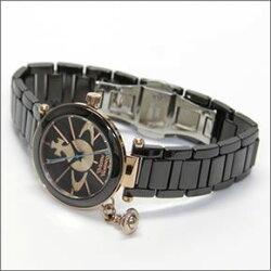 【VivienneWestwood】ヴィヴィアンウエストウッド腕時計キュートなオーブチャームがついた、オーブモチーフ・ダイヤルのレディス・ウオッチVV067RSBKセラミックバンド【_包装】