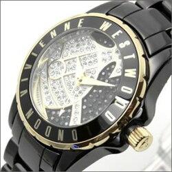 20141215VivienneWestwoodヴィヴィアンウェストウッド腕時計ダイヤルのパヴェストーン、オーブモチーフが魅力☆ブラックカラーのお薦め女子ウオッチVV088SGDBKレディース女性用