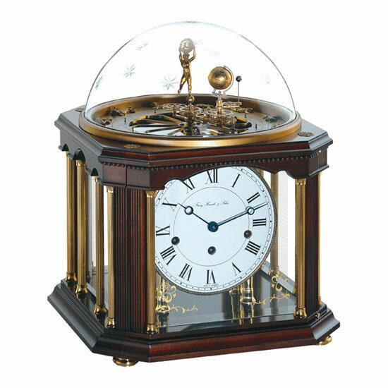 Hermle [ヘルムレ] 高級インテリアクロック Table Clock テーブルクロック 置き時計 天体時計クルミ材 機械式ガラス 22948-Q10352[送料無料]【成人式 お祝い】【父の日】【クリスマス】